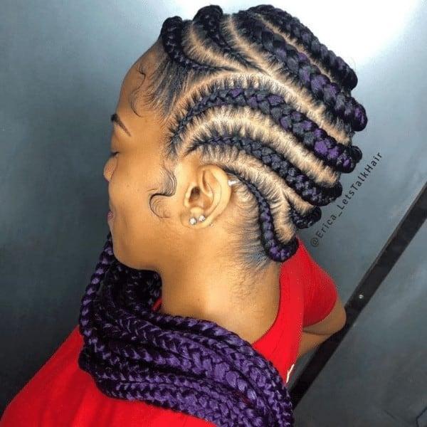 Purple Goddess Braids to the Side
