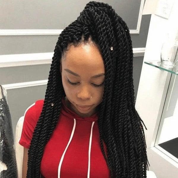 Senegalese Half twisted ponytail