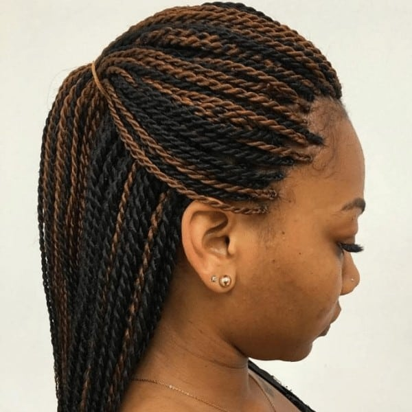 Senegalese Twists along with highlights