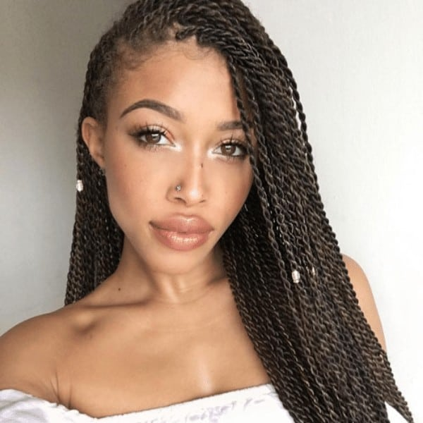 Senegalese sided hairstyle