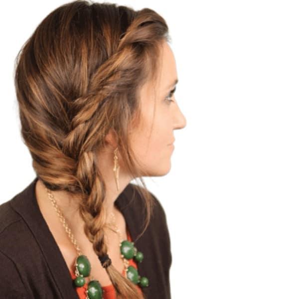 Side braids with twists