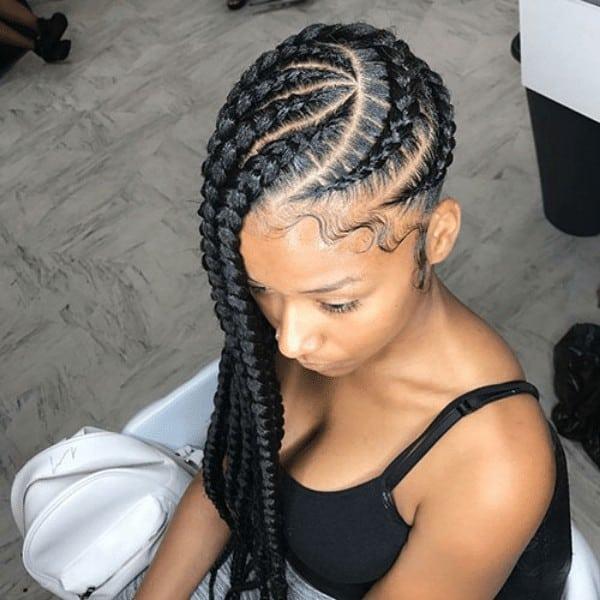 Side cornrow braids