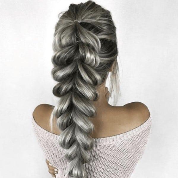 Thick fishtail braid pony