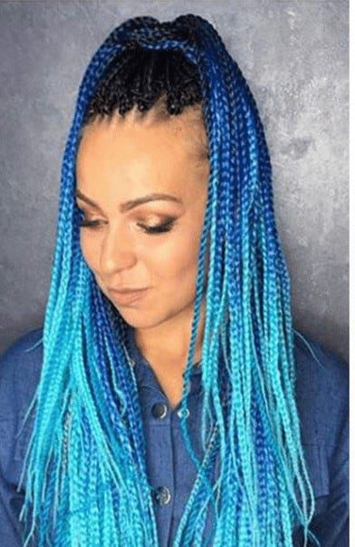 Thin braids with low blue lights