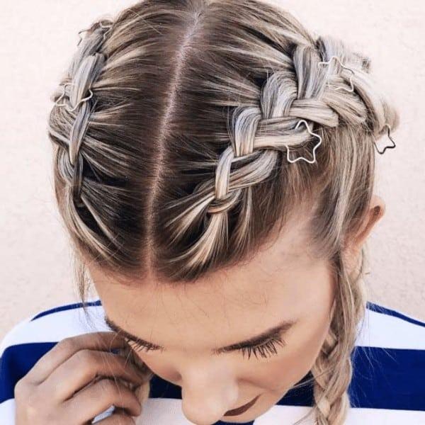 Thin dutch braided hairstyle