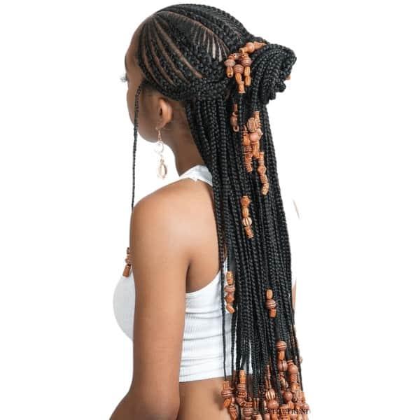 Two-Toned Fulani Braids in a Top Bun