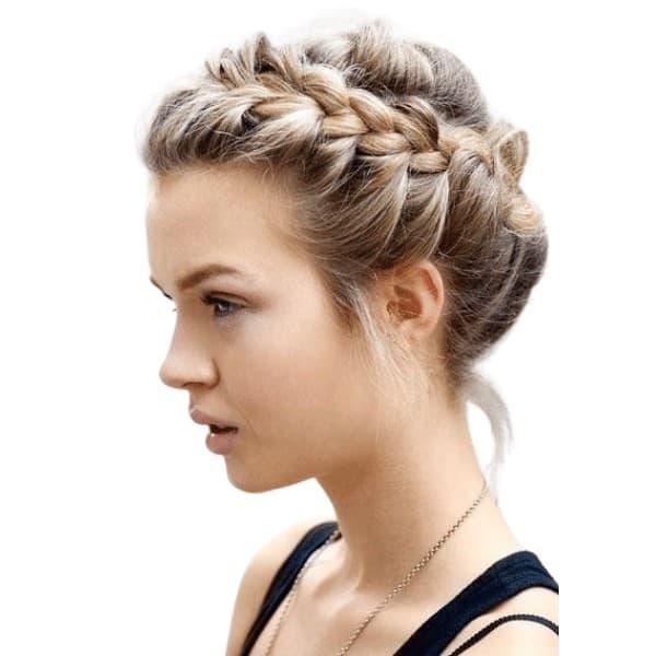 Updo halo braids