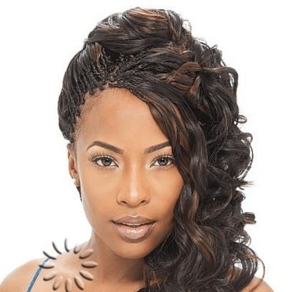 Updo with simple micro braids