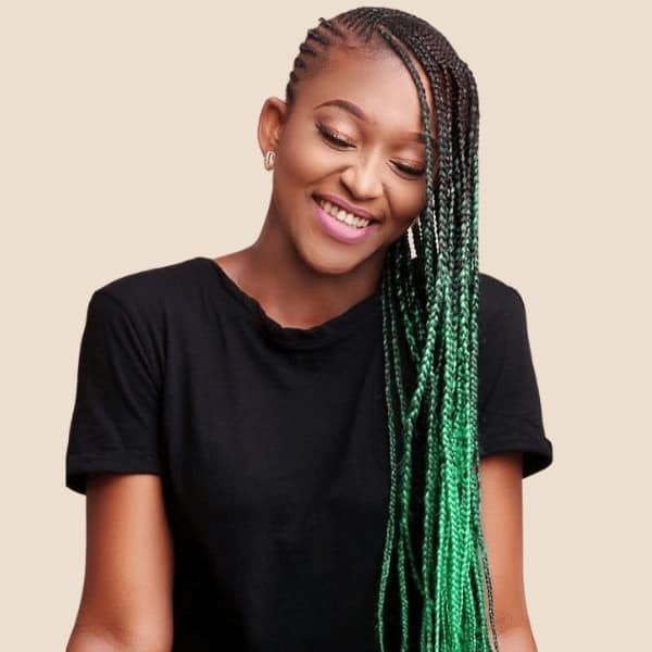 Yellow to green Ombre braids