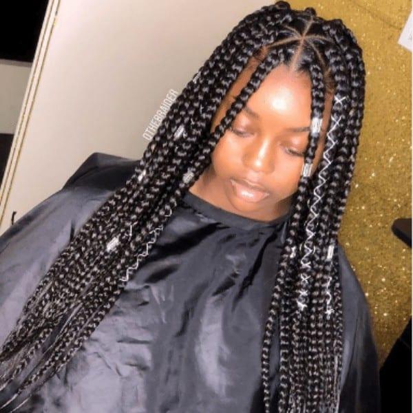Dark braids with hair accessories