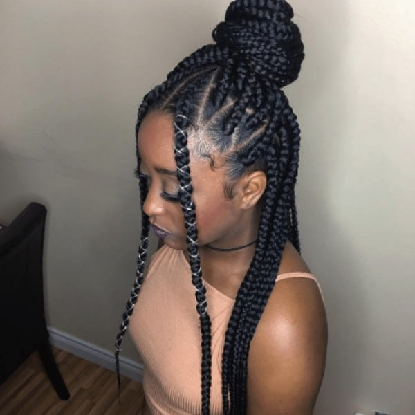 Hair up a bun and wrapped braids