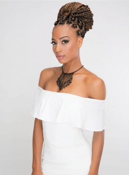 Pre-stretched braids with an up do hairstyle