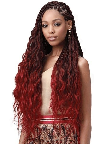 Pre-stretched hair with braids and curls