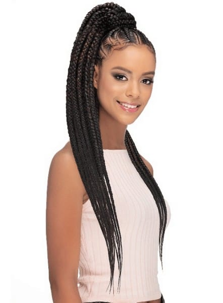 Pre-stretched hairstyle with ponytail braids