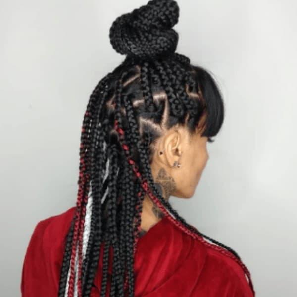 Straight bangs braids