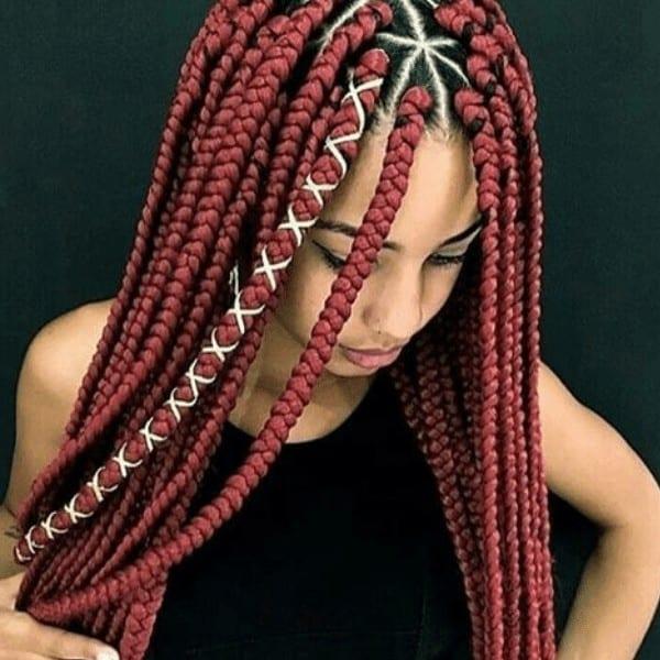 Stylish triangle box braids