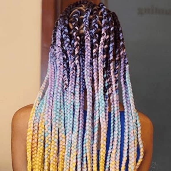 triangle box braids in multicolor highlights