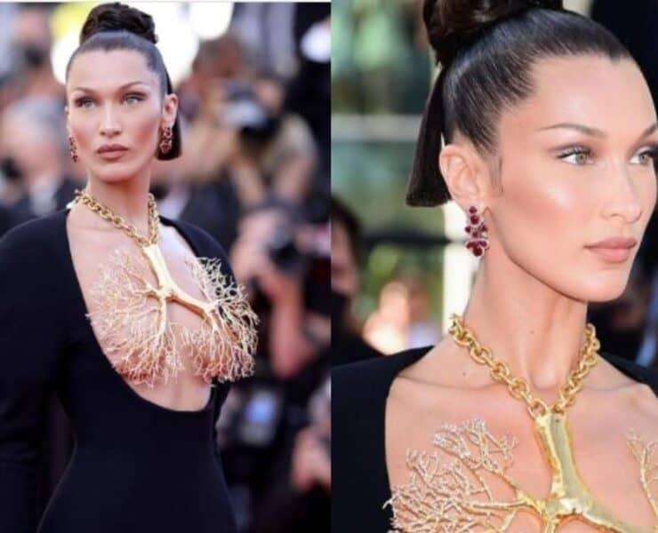 Bella Hadids Golden Lung Necklace